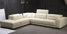 L shaped white leather sofa with cushions and high back on grey rug. Inspiring Design Of Leather Sectional Sleeper Sofa For Your Living Room Furniture Ideas Chesterfield Sofa, White Sectional Sofa, Corner Sectional Sofa, Sectional Sleeper Sofa, Leather Sectional Sofas, Modern Sectional, Lounge Sofa, Recliner, Contemporary Leather Sofa