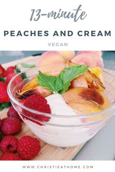Caramelized Peaches and Cream. A delicious creamy dessert featuring pan seared peaches with an vegan ice cream. This recipe is easy and quick to make!