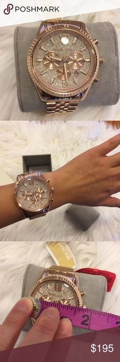 Michael Kors women's watch. Rose gold New with tag. Comes with watch case. Shows time and date. Authentic Michael Kors watch. Swarovski elements on face. Links were never taken off. Brand new. In perfect new condition. No trades Michael Kors Accessories Watches