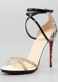 Christian Louboutin Monocronana Patent Leather Suede Studded Sandal