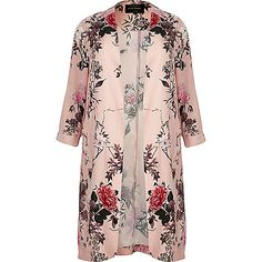 Plus collection Premium woven fabric Pink floral print Longline fit Long sleeve Unfastened front