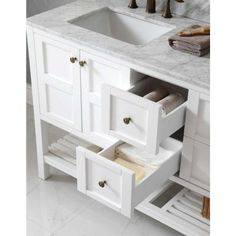 Virtu USA Winterfell 60 in. W x 22 in. D x 35.99 in. H White Vanity With Marble Vanity Top With White Square Basin and Mirror-ED-30060-WMSQ-WH - The Home Depot