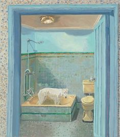 Lucy's bathroom, 2010 by Lucy Culliton National Portrait Gallery, I Love Cats, Dog Cat, Photos, Paintings, Bathroom, Interior, Dogs, Art