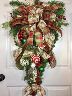 Burlap, Red, Green, Christmas Pine Teardrop Country Swag Wreath