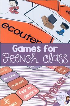 French grammar, vocabulary, and conjugation games for beginning and intermediate students of FSL and Core French classes from Mme R's French Resources French Verbs, French Grammar, How To Speak French, Learn French, Teaching French Immersion, French Flashcards, High School French, French Language Learning, Learning Spanish