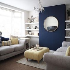 Blue Feature Wall Living Room, Navy And White Living Room, Navy Living Rooms, Living Room Orange, Blue Living Room Decor, Living Room Decor Inspiration, New Living Room, Living Room Wall Designs, Decoration