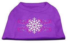 Mirage Pet Dog Cat Indoor Oudoor Apparel Gift Accessories Pink Snowflake Swirls Screenprint Shirts Purple XS 8 -- Read more reviews of the product by visiting the link on the image.