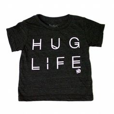 hug life tee cotton black and white tshirt for baby boy, baby girl. gender neutral, unisex trendy outfit clothes for kids, toddler and baby. hipster and modern.