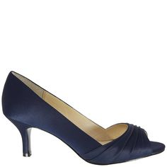 The Carolyn will become one of your wardrobe's best friends. It's your best accessory next to your smile. It's elegant and sophisticated in rich satin colors, a mid-height heel, and pleated toe. Satin Color, Nina Shoes, Peep Toe Pumps, Open Toe, Taupe, Navy, Elegant, Heels, Accessories