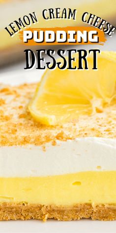 A simple layered no-bake dessert with a cream cheese lemon pudding layer, it's perfect for potlucks. #lemoncheesecake #lemoncheesecakebars #nobakedesserts #lemonpudding #creamcheese #coolwhip #whippedtopping #whippingcream #easydesserts #summerdesserts #onepandesserts #amandascookin Mini Desserts, Pudding Desserts, Summer Desserts, No Bake Desserts, Easy Desserts, Delicious Desserts, Dessert Recipes, Summer Recipes, Oreo Dessert