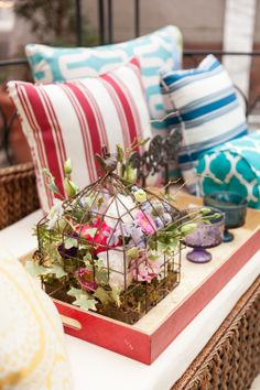 Try this for a conversation piece! #birdcage #flowers #HomeGoodsHappy #decor