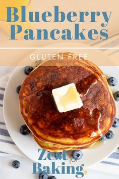 Gluten Free Blueberry Pancakes - they're light, fluffy, perfectly balanced with delicious ingredients and no one will even know they're gluten free or grain free! These are thick and the best you'll ever eat! #zestforbaking #glutenfreerecipes #glutenfreebreakfast Gf Pancake Recipe, Pancake Recipes, Waffle Recipes, Gluten Free Recipes For Lunch, Gluten Free Breakfasts, Gf Recipes, Gluten Free Waffles, Gluten Free Blueberry, Blueberry Pancakes