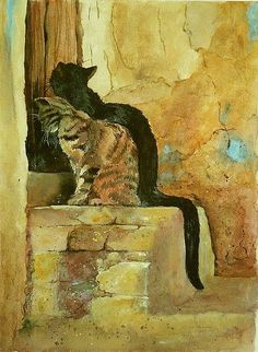 """Mineke Reinders - """"Citadel Cats"""" Watercolor & gouache on paper.Just like my cats toffee and treacle Cat Drawing, Painting & Drawing, Black Cat Art, Photo Chat, Watercolor Cat, Domestic Cat, Beautiful Cats, Crazy Cats, Pet Portraits"""