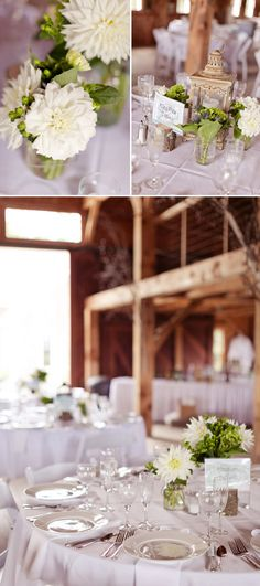 simple, elegant, white barn #wedding tables