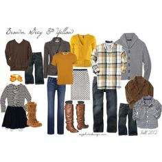 Family Photo What to Wear | Brown Grey & Yellow