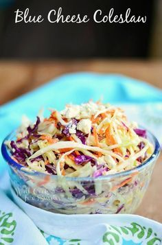 This Blue Cheese Coleslaw is absolutely delicious, made with vinegar dressing and blue cheese crumbles! from willcookforsmiles.com