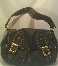 Tommy Hilfiger Black & Gold Faux Leather Handbag/Purse/Shoulder Bag EUC on Ebay