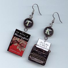 Book Earrings To Kill a Mockingbird  Vintage  Typewriter Harper Lee
