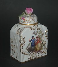 RARE ANTIQUE GERMAN MEISSEN PORCELAIN PERFUME SCENT BOTTLE FIGURAL ROCOCO SCENE