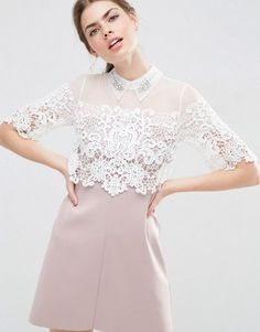 ASOS Lace Panel Embellished Collar Scuba Skirt Shift Dress