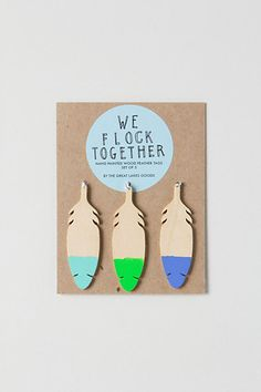 Wooden Feather Gift Tag Set - anthropologie.com