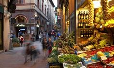 Shop selling fruit, vegetables in the old market area, Bologna, Emilia-Romagna, Italy