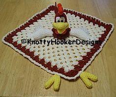 Rooster Lovey Blankie - $3.25 by Knotty Hooker Designs