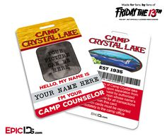 eb806319d Camp Crystal Lake 'Friday the 13th' Camp Counselor Cosplay Name Badge  [Custom / Photo Personalized]