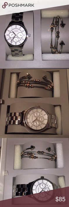 New Fossil silver watch bracelet boxed set $155 New fossil watch and bracelets in boxes set  Silver watch with rhinestones on the face   Cuff bracelet  bracelet with lobster claw closure   Retail $155 Fossil Accessories Watches