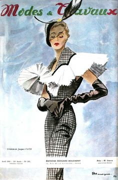 too many people I would love to be. (Creation de Jacques Fath illustrated by Pierre Mourgue, Modes et Travaux April Jacques Fath, Guy Laroche, Vintage Patterns, Vintage Sewing, Vintage Clothing, 1950s Fashion, Vintage Fashion, Club Fashion, Classic Fashion