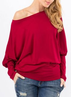 Stylish Batwing Sleeve Solid Color Loose-Fitting Women's T-Shirt T-Shirts | RoseGal.com Mobile