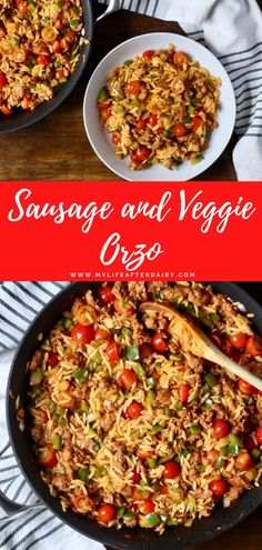 Make a quick and filling dinner tonight with this 30 minutes sausage and veggie orzo pasta. Spicy sausage, onion, bell pepper, grape tomatoes, and fresh orzo pasta come together for this filling dinner. This dairy free recipe also makes an excellent meal prep to pack for lunches for the week. #orzodinner #30minutemeal #sausageandorzopasta #mylifeafterdairy