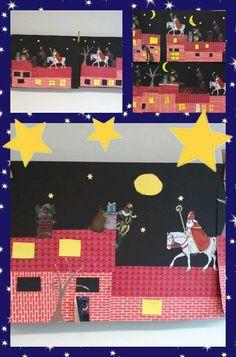 Sint en Piet knutselen in groep 5, met plaatjes van inpakpapier of zoeken op internet.