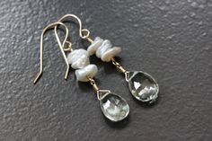 Green Amethyst Keshi Keishi Pearls Stacked Earrings, 14k Gold Filled, February June Birthstone, Creamy White Sage, Wire Wrapped - Emily, by Princess Ting Ting Jewelry @ Etsy