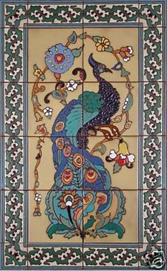 Decorative tile mural..Catalina Peacock by CeramicConcepts on Etsy, $195.00
