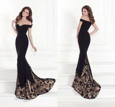 Nueva moda 2015 fuera del hombro negro vestido de noche largo atractivo vestido de fiesta informal sirena vestido de noche con apliques