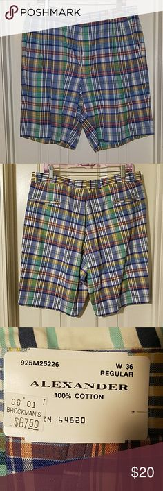Men's Boutique Pleated Golf Shorts. Never worn. New with tags. Men's size 36R. 100% Cotton. Multi-colored plaid. Shorts
