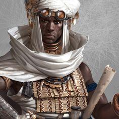 Steampunk Middle Eastern man in turban Black Characters, Dnd Characters, Fantasy Characters, Character Concept, Character Art, Concept Art, Character Design, African American Art, African Art