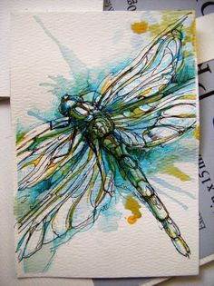 Stunning Dragon fly card (watercolor)