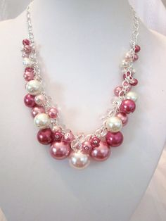 Shades of Rose Pearl and Crystal Cluster Necklace - Chunky, Choker, Bib…