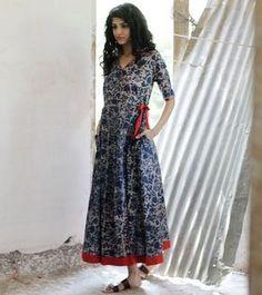 87da7a95fd2 Indigo Floral wrap dress by KharaKapas on Etsy