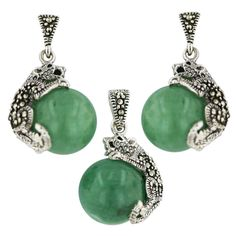 "Marcasite Sterling Sivler New Jade Ball with Cougar Earring and Pendant Neckalace 18"" Chain"