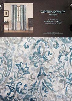 Envogue Navy Blue Jacobean Floral Window Curtain Panels 50