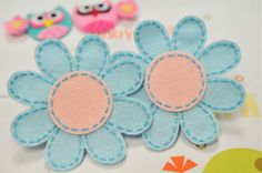 New! Set of 4pcs handmade felt flower--aspen blue/shell pink (FT675)