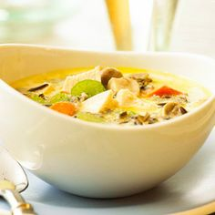 Chicken and Wild Rice Chowder Leftover chicken combine with wild rice, carrots, and mushrooms in this chunky soup that is a quick and easy meal.