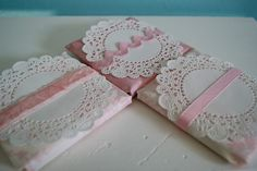 wrap some chocolate bars using some paper doilies, pink ribbons & rickrack, and decorative papers ~ they will make such pretty Valentine's day gifts