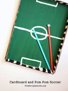 Pink Stripey Socks: Cardboard and Pom Pom Soccer Game