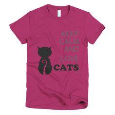 Keep Calm and Love CATS Short Sleeve Women's T-Shirt Top