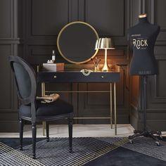 ideas for vintage bedroom black dressing tables Dressing Table Lamps, Black Dressing Tables, Dressing Table Design, Vintage Room, Bedroom Vintage, New Furniture, Furniture Design, Bedroom Black, Beautiful Bedrooms