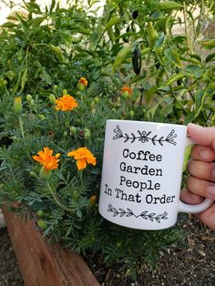Then check out this Coffee Garden People, In That Order mug with humorous lettering design. Add it to your collection or gift it to your favorite coffee and garden lover. Beautiful Lettering, Cute Mugs, Coffee Love, Lettering Design, Cute Gifts, Lovers, Geek, Ceramics, Boutique